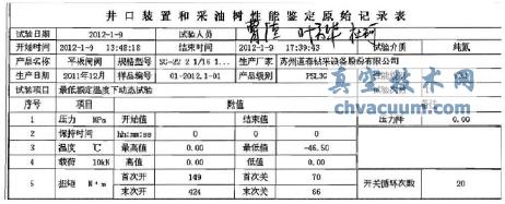 井口装置和采油树性能鉴定记录表
