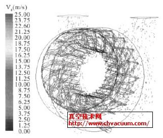 液环泵内气相流速矢量图