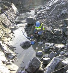 一个考古队伍采用了鹤见的半潜水式排水泵