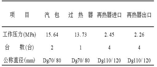 125MW锅炉安全阀配置表