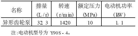 异形齿轮泵的技术参数