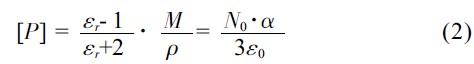 摩尔体积与单位体积内极化粒子数的关系