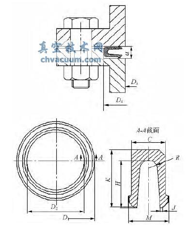 U 形金属密封环安装及结构示意图