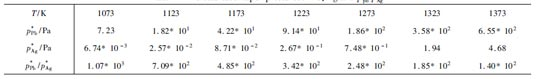 铅、银饱和蒸气压以及p*Pb /p*Ag