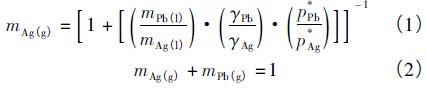 Pb-Ag二元系气液相平衡成分图
