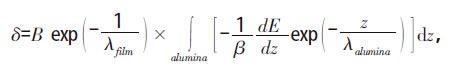 氧化铝陶瓷二次电子发射系数δ 与薄膜厚度t 的关系式